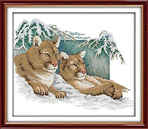 CaptainCrafts Heiß Neue Veröffentlichungen Kreuzstich Kits Muster Stickerei Kit - Zwei Amerikanischer Löwe im Schnee (WEISS)