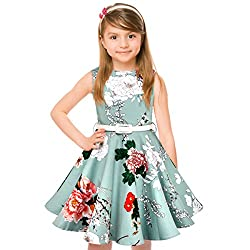 Hbbmagic Vintage Girls Cotton Dresses With Belt 1950's Sleeveless Round Neck Polka Dot Floral Print For Party(girl's 9-10,light Blue)