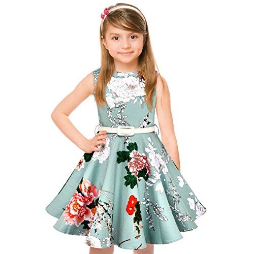 HBBMagic Maedchen Audrey 1950er Vintage Baumwolle Kleid Hepburn Stil Kleid Blumen Kleid Tupfen Kleid mit Futter, Hellblaue Blume, 5-6 Jahre/114-122 CM (Sehr Blumen-mädchen-kleider Schickes)