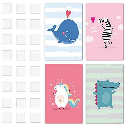 Set of 4Kinder Decor Art Prints–Gedruckt Auf dickem Karton und enthalten Kleber–Diese Baby Prints machen große Zimmer oder Kinderzimmer Decor–Ideal Baby Wand sitickers–Kinder Art Sets