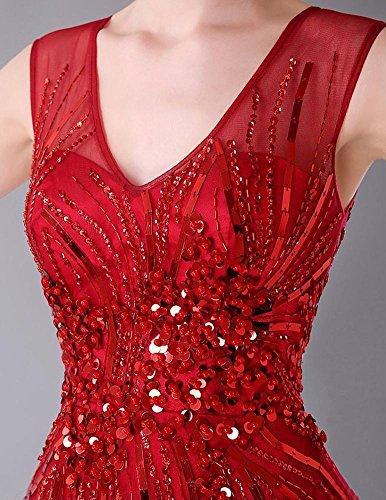 Beauty-Emily -  Vestito  - linea ad a - Senza maniche  - Donna rosso vivo