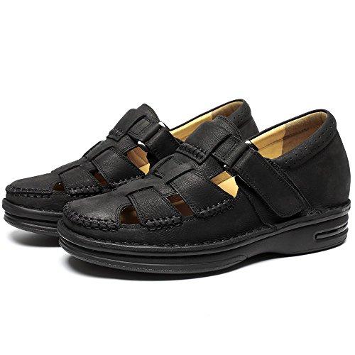 CHAMARIPA Aufzug Schuhe Herren Sommer Sandalen Höhe Erhöhung Schuhe 7cm Größer Black
