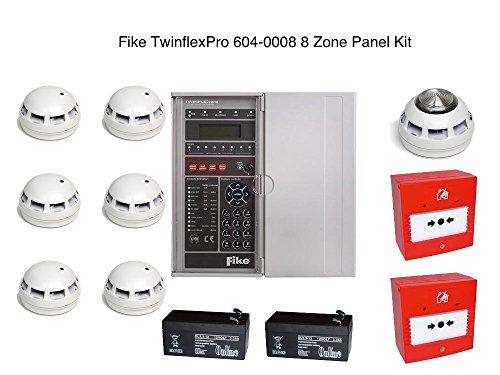Fike TwinflexPro 604-0008 8 Zone Panel Kit 6x ASD Detektoren, 1x Multipoint ASD Sounder / Strobe, 2x Call Point 2x 12V 3.3Ah Wiederaufladbare Batterien - Fire Alarm Safety Kit 2 Zone Fire Panel