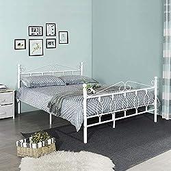 Aingoo Lit Double en métal Design Cadre de lit avec sommier à Lattes pour Adultes et Enfants, 140x190 cm Blanc