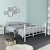 Aingoo Upgrade Doppelbett Metallbett mit Lattenrost Bettrahmen inkl. Rückenlehne Perfekt als Gästebett Jugendbett Beige, 140 x 190 cm