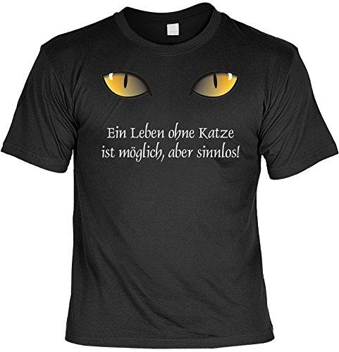 Witziges Sprüche Fun T-Shirt : Ein Leben ohne Katze ist möglich, aber (Blut Katze Kostüm)