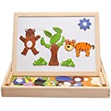Magnetic Puzzle Wooden Animal Travel Easel Dry Erase Chalkboard Toy for Kids Imagination by Alytimes