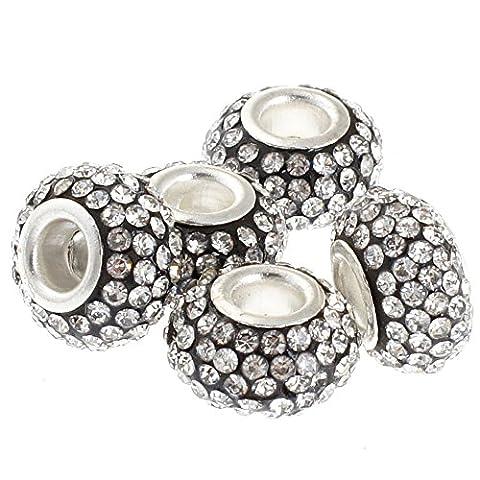 Rubyca gros trous 11mm cristal Charm perle pour bracelet charms européens, White Clear on Black, 10 pièces