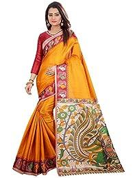 JENCY FASHION Kalamkari 4 Silk Saree With Blouse (MUSTARD)