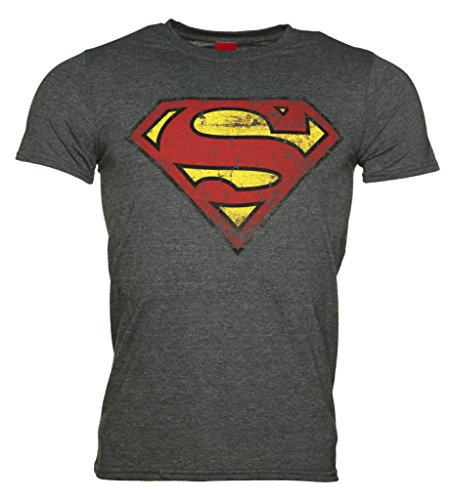 Mens Charcoal Distressed Superman Logo T Shirt (Distressed Vintage-t-shirt)