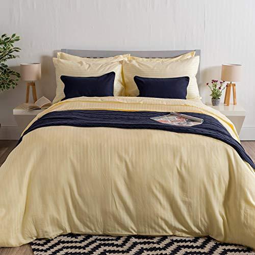 Homescapes 2 teilige Damast Bettwäsche 135 x 200 cm vanille 100% reine ägyptische Baumwolle Fadendichte 330