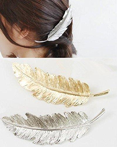 cuhair (TM) 2 feuilles Punk plume Design en Métal pour fille Barrettes à cheveux griffe Accessoires
