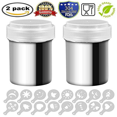 2 Edelstahl Powder Shaker, Meiso Edelstahl Schokolade Shaker Duster Mesh Shaker powder Dosen für Kaffee Kakao Zimt Pulver mit Deckel, mit 16 PCS Streuer Schablonen Kaffee Schablone