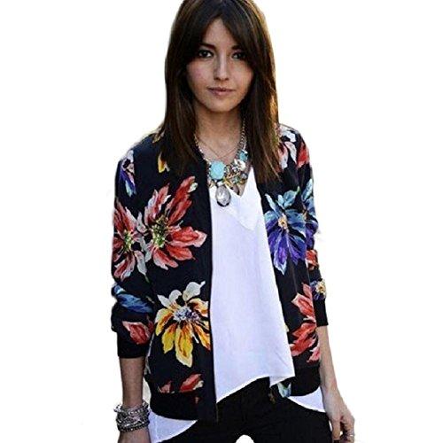 OVERDOSE Damen Gedruckt Reißverschluss Blazer Klage Jacken Mantel Outwear (S, Multicolor)