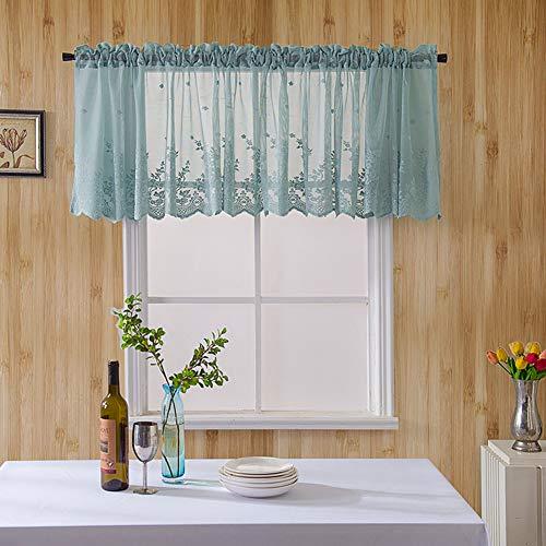 Techwills Spitzenvorhang kurzer Kaffeevorhang für Küche Bad Schlafzimmer WC Fenster dekorativ