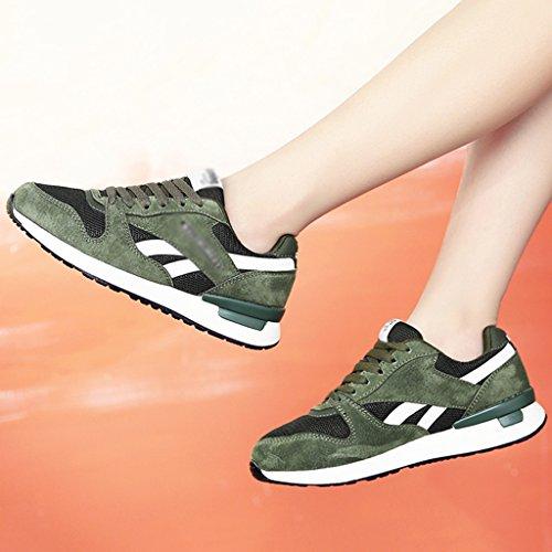HWF Scarpe donna Sport Scarpe da corsa primaverili femminili Scarpe da ginnastica piatte in mesh traspirante Scarpe da donna ( Colore : Grigio , dimensioni : 38 ) Verde