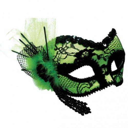 Bristol Novelty EM380 Maske aus Spitze, Schwarz/Grün, womens, (Burlesque Augen Masken)