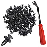 YuCool 100 piezas de nailon con clips para remaches y accesorios de montaje para muebles de automóvil, kit de tornillos de expansión de 8 mm + 1 quitador de cierres de plástico