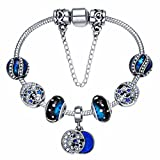Presentski Bracelet Charms Silver Plated with Spacers Blue Glass Beads para Mujer y Niña