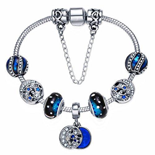 Presentski Charm Bracelet 925 Argent plaqué avec Étoiles Lune et Perles Bleues Cadeau de Noël pour Les Femmes