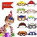 Queta Máscaras para Niños, 10 Piezas Máscaras de Fieltro Mitad Máscara de Cosplay con Cuerda Elástica Máscaras Ojos para Fiesta de Cumpleaños Halloween por Queta
