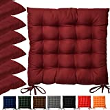 Beautissu Set 6 Lea - comodísimos Cojines para sillas - Vivienda o terraza - 40 x 40 x 5 cm - Rojo Oscuro