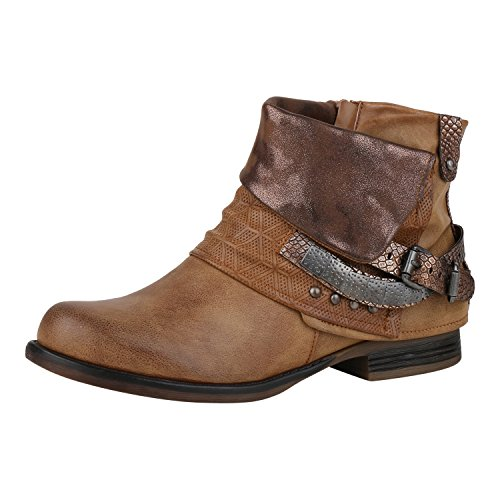 napoli-fashion Damen Schuhe Biker Boots Nieten Stiefeletten Metallic Schnallen Braun Nieten 36 Jennika
