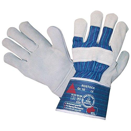 - Spaltleder-arbeits-handschuhe (ROSTOCK - 5-Fg.-Sicherheitshandschuhe aus Spaltleder TÜV GS, Universeller Arbeitshandschuh Gartenhandschuh, aus Qualitäts-Rindnarbenleder - Größe: 9)