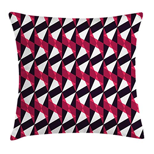Geometric Throw Pillow Cushion Cover, Minimalist Style Abstract Triangles Pattern Urban Contemporary Graphic, Decorative Square Accent Pillow Case, 18 X 18 Inches, Ruby Black White
