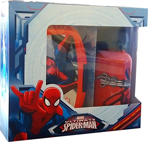 2 tlg. Set Brotdose mit Aluminium Trinkflasche 400 ml Marvel Spiderman