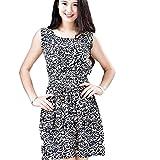 Vestido de verano, RETUROM Verano de las mujeres sin mangas rosa impreso mini vestidos (XXL, Negro)
