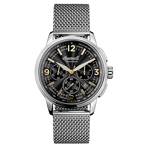 Ingersoll Men's The Regent Quartz Watch with Black Dial and Silver Stainless Steel Bracelet I00103