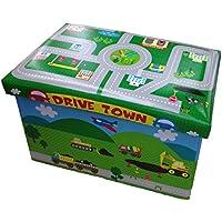 Preisvergleich für GMMH Hocker 49 x 31 x 31 cm Faltbarer Original Spielzeugbox Spielzeugtruhe Spielzeugkiste AufbewahrungsboxSitzhocker faltbar (Drive Town)