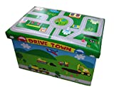 GMMH Hocker 49 x 31 x 31 cm Faltbarer Original Spielzeugbox Spielzeugtruhe Spielzeugkiste AufbewahrungsboxSitzhocker faltbar (Drive Town)