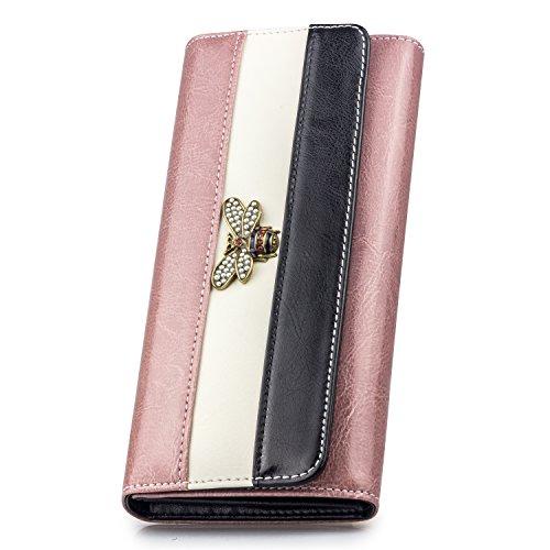 DOSHARE Damen aus echtem Leder Geldbörse Brieftasche Kartenhülle Mädchen Lady Geschenk Geld-Organisator Lange Handtasche mit Popper-Knopf Verpackung Box Rosa (Womens Popper)