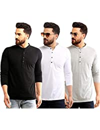 SCATCHITE Pack of 3 Mandarin Collar Full Sleeve Casual T-Shirts for Men's & Boy's