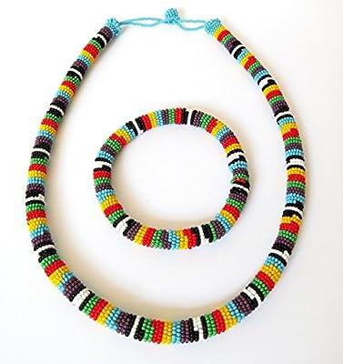 Parure collier et bracelet en perles Sud Africain Zoulou - Multicolore avec violet