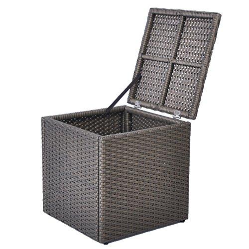 Réservoir de stockage de patio en résine de patio en plein air, 21 gallons, cadre en aluminium antirouille, résistant aux intempéries (17,7