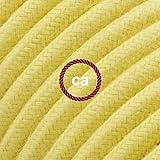 Cavo Elettrico rotondo rivestito in Cotone Tinta Unita Giallo Pastello RC10-10 Metri, 2x0.75
