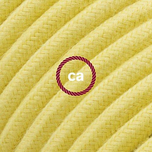 Cavo Elettrico rotondo rivestito in Cotone Tinta Unita Giallo Pastello RC10 - 1 Metri, 3x0.75