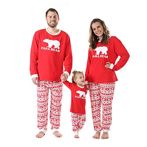 Baywell Weihnachtsoutfit Schlafanzug Familie Outfit Set Mutter/Vater/Kind Nachtwäsche, Vater, Gr.-M/175