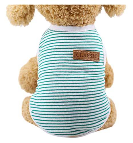 Crasy Shop Fashion Streifen Haustier Hund Sommer T-Shirt Vest Ärmellos Tank Top für kleine medium Puppy Dogs Katzen