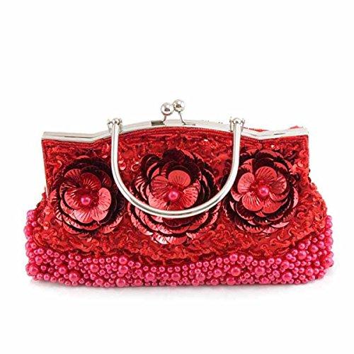 Damen Klassisch Retro Halten Erwähnen Mode Abendtasche Braut Kleid Cheongsam Tasche Stickerei Perlen Red