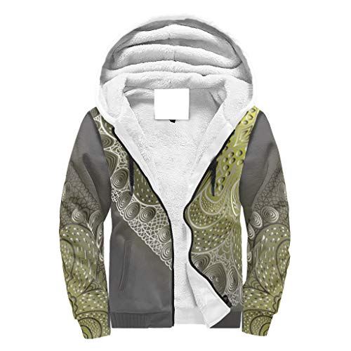 NC83 Herr Reißverschluss Vorne Winter Vlies Sweatshirts Teens Grau-gelbe Steigung Mandela Drucke Freizeit - Mandela Kunst Kordelzug Komfortabel Trainingsjacke für Halloween White 3XL