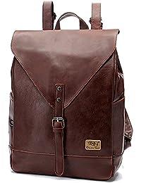 ece53d091e0dd Retro PU-Leder Vintage Rucksack Wanderrucksack Hiking Backpack Damen Herren  Schultertasche PU Rucksack Für Camping Reise und…