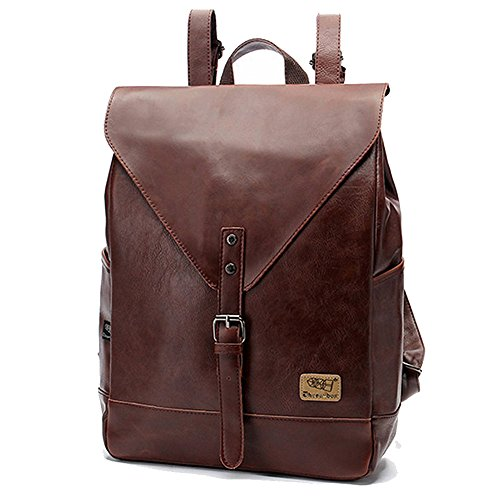 Retro PU-Leder Vintage Rucksack Wanderrucksack Hiking Backpack Damen Herren Schultertasche PU Rucksack Für Camping Reise und iPhone, iPad und Samsung Tablet drei Farbe (Kaffee)