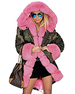 Women Camouflage Warm Faux fur Lining Coat Hood Jacket Winter Trench Parka