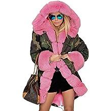 Roiii - Abrigo con estampado de camuflaje, cálido, forro de piel sintética, ...