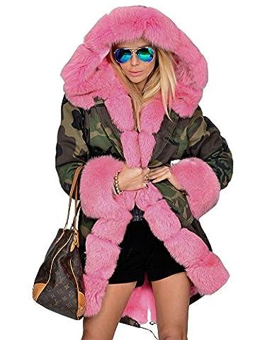 Roiii femmes camouflage veste capuche veste doublure en fausse fourrure
