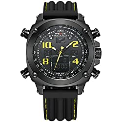 Alienwork DualTime Analogue-Digital Watch Chronograph LCD Wristwatch Multi-function XXL Oversized Polyurethane black black OS.WH-5208J-B-06